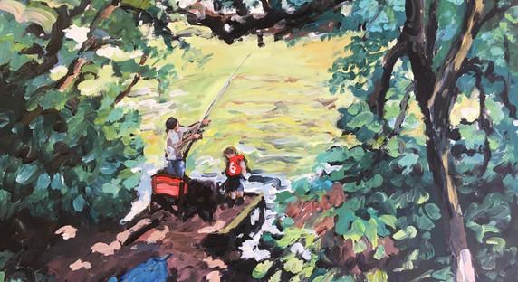 fishing lymm dam 9 x 12 inch