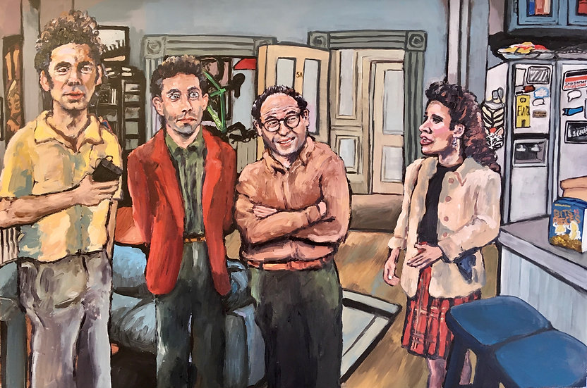 Original Seinfeld painting with three Seinfeld prints