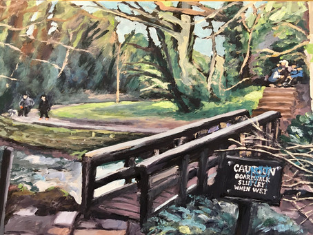 Busy with Lymm paintings 2021. Living near by in Penketh I often visit Lymm on my bike.