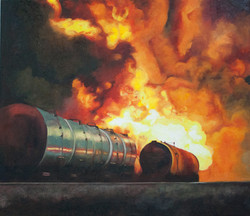 Oil Train Explosion, Night
