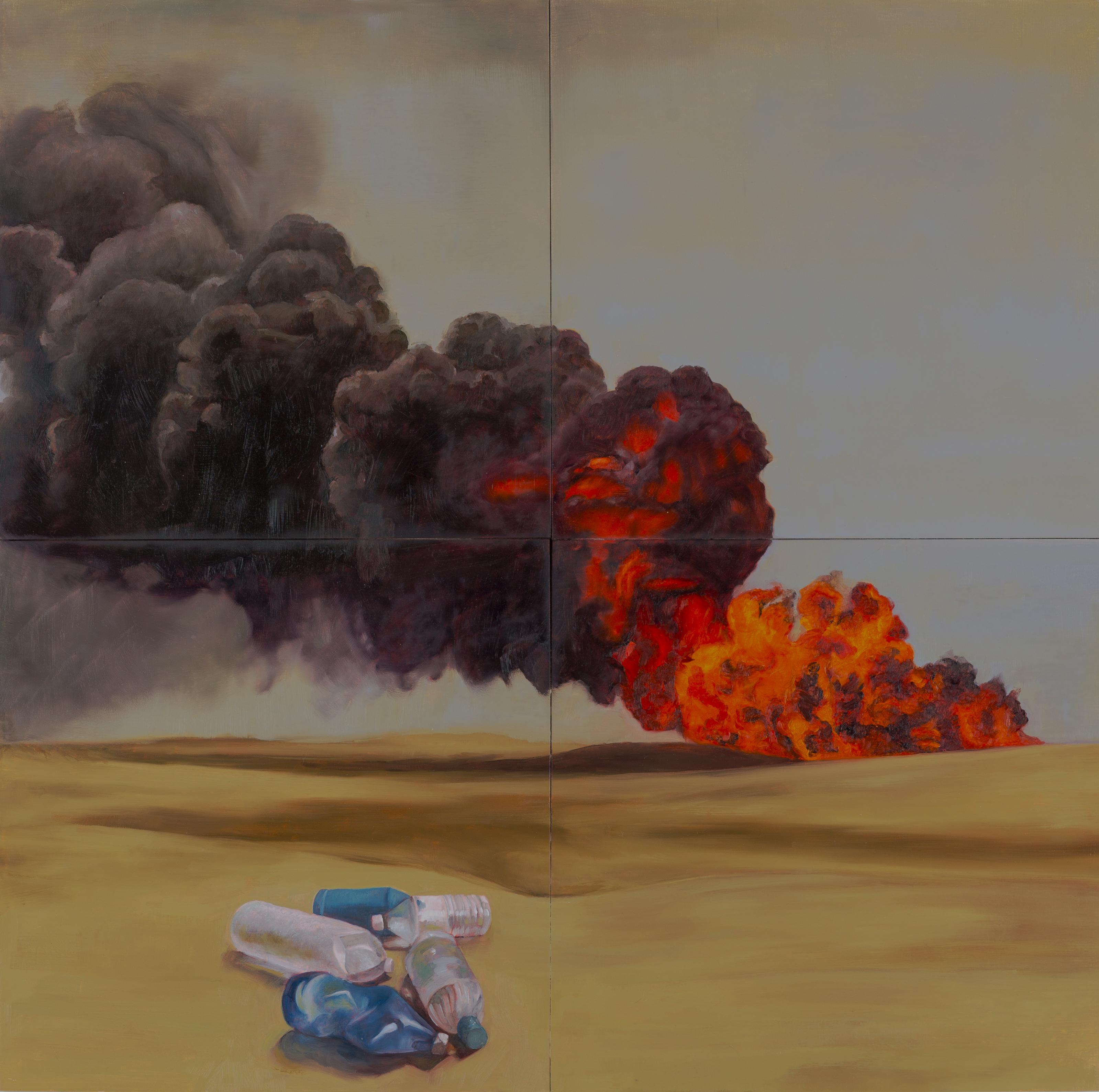 Desert oil fire
