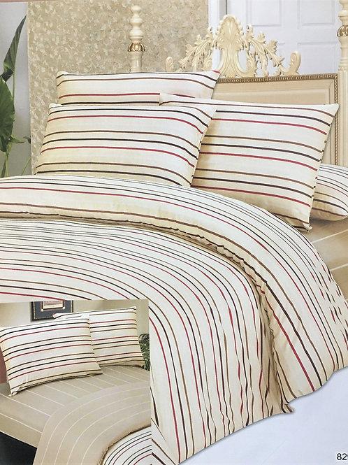 DaDa Bedding Multi-Color White Striped Flat Sheet & Pillow Cases Set (FS8293)
