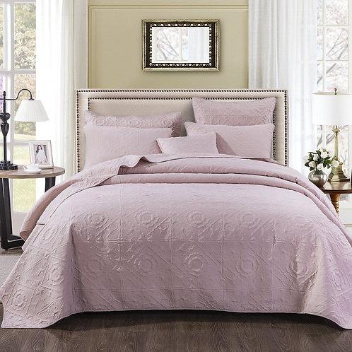 Elegant Floral Country Tea Rose Pink Quilted Coverlet Bedspread Set (JHW860)
