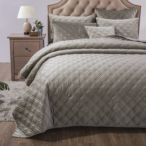 Velveteen Double Sided Quilted Coverlet Bedspread Set, Taupe Grey (JHW831)