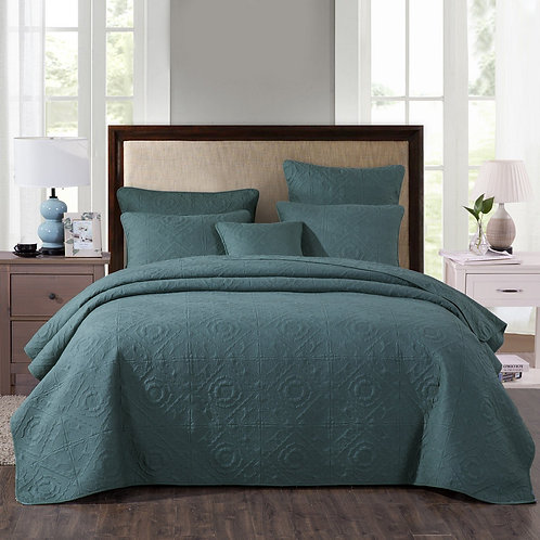 Elegant Forest Green Cotton Quilted Bedspread Coverlet Set (JHW854)
