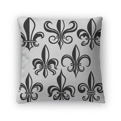 Throw Pillow, Fleur De Lys Shield Design