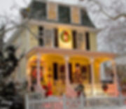 Beautful Victorian homes are decorated for the holidays.