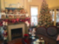 Mantel decorations and a Christmas tree welcome visitors to the Cherry House.