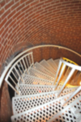 The spiral staircase at the Lighthouse winds up 199 steps to the top.