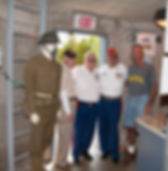 Veteran volunteers help explain the purpose of the World War II Lookout Tower.