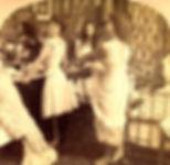 Ladies getting dressed in Victorian clothing