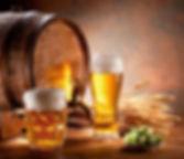 Barrel and mugs of beer