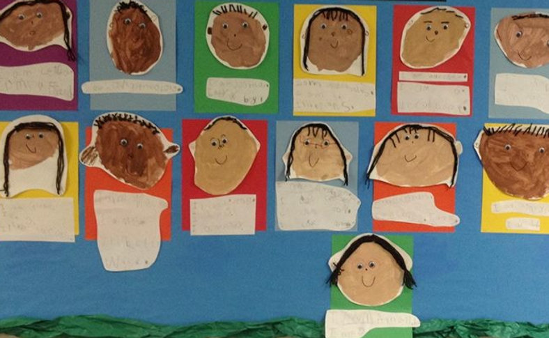 Kindergarten Self Portraits, created by Frank Elementary School kindergarten students, Guadalupe, AZ
