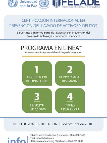 Certificación Prevención Lavado de Activos y Delitos, 2da Edición