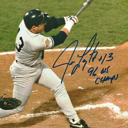 JIM LEYRITZ #13 Hand Signed New York Yankees AUTOGRAPH 8X10 Photo 1996 WS Champ