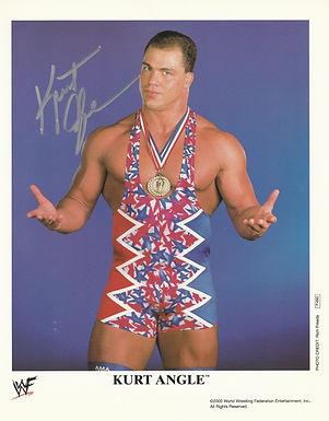 Kurt Angle ORIGINAL WWF Promo P-660 Signed 8x10