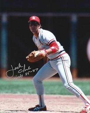 Jack Clark Hand Signed St, Louis Cardinals 8x10 w/ Cards 85-87 INSC