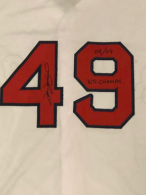 Tim Wakefield  Hand Signed Replica Boston Red Sox Jersey w/ 04/07 WS Champs INSC