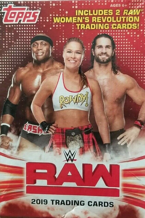 2019 Topps WWE RAW Trading Cards Hanger Box w/42 Cards