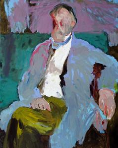 Man in Blue on green sofa
