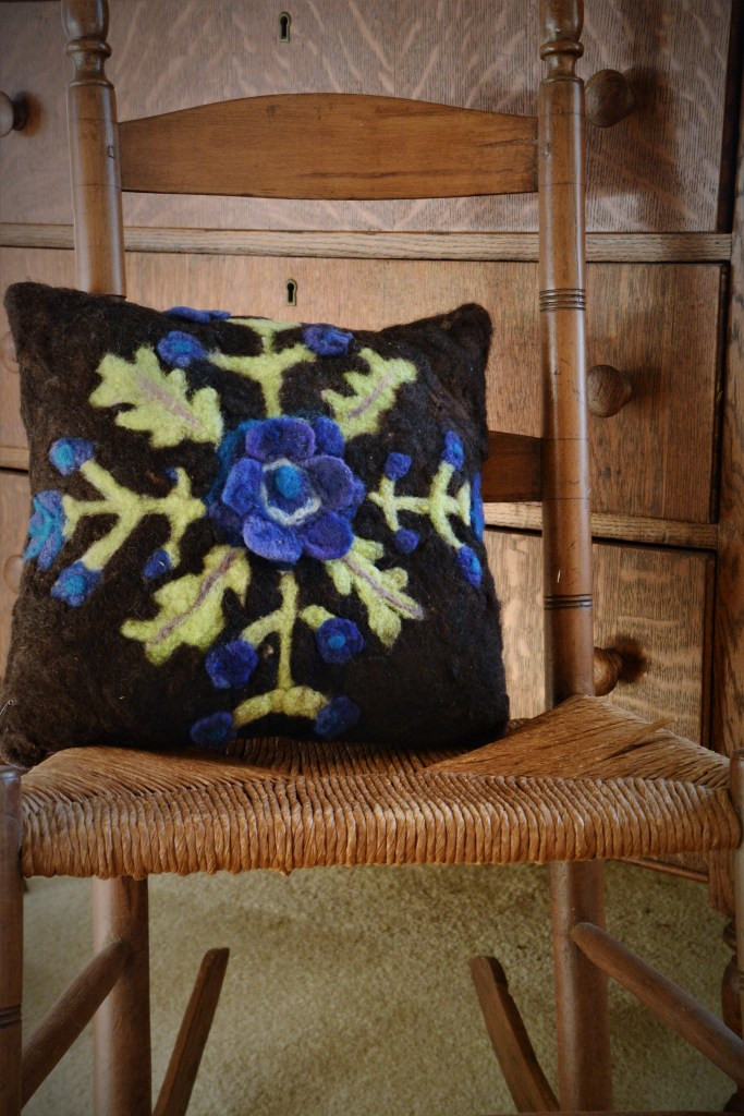 Needle felted pillow