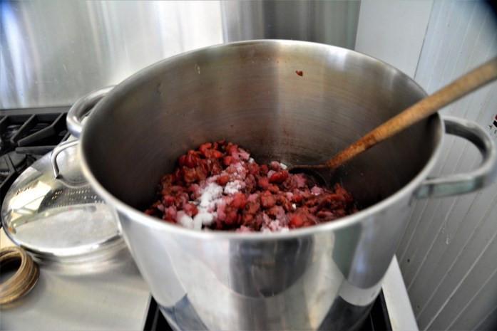 cherries in stock pot