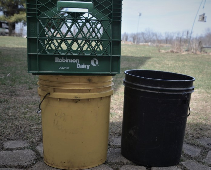 buckets and milk crate