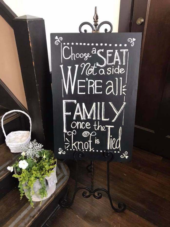 sign for wedding seating