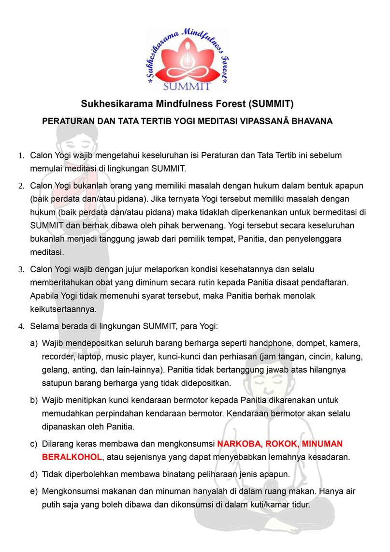 Peraturan Tata Tertib Sukhesikarama Mindfulness Forest 01
