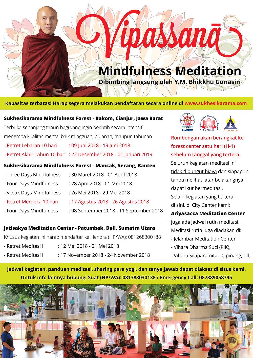 Jadwal Retret Meditasi 2018