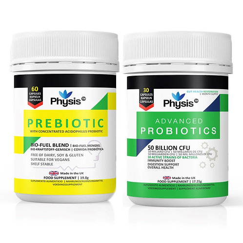 Physis Advanced Probiotics and Prebiotic Bio-Fuel - Ultimate Gut Flora Combo