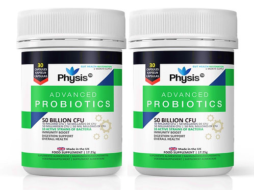 Physis Advanced Probiotics Couple's Pack (2 Bottles of 30 Capsules Each)