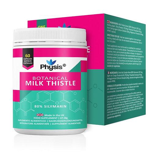 Physis Botanical Milk Thistle with 80% Silymarin - 60 x Vegan Capsules