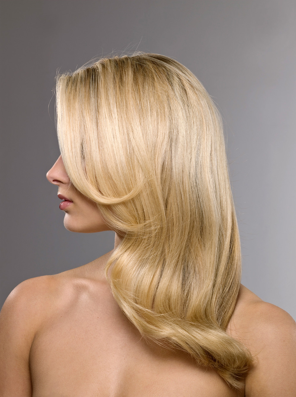 Blond Lady with smooth flowing hair