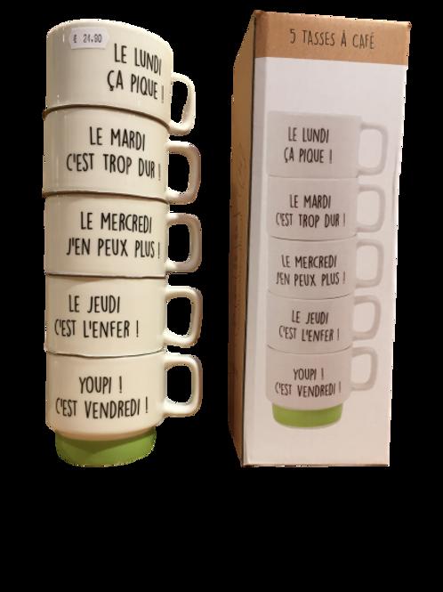 Coffret de 5 tasses à café jour de la semaine