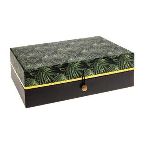 Boîte bijoux impression jungle feuille
