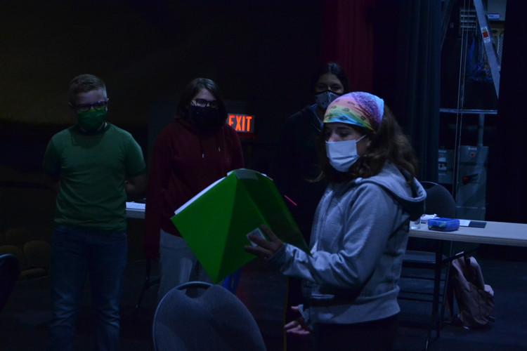 Kate (Prince) demands respect from Nate (Montague), Aly (Benvolio), and Maya (Mercutio)