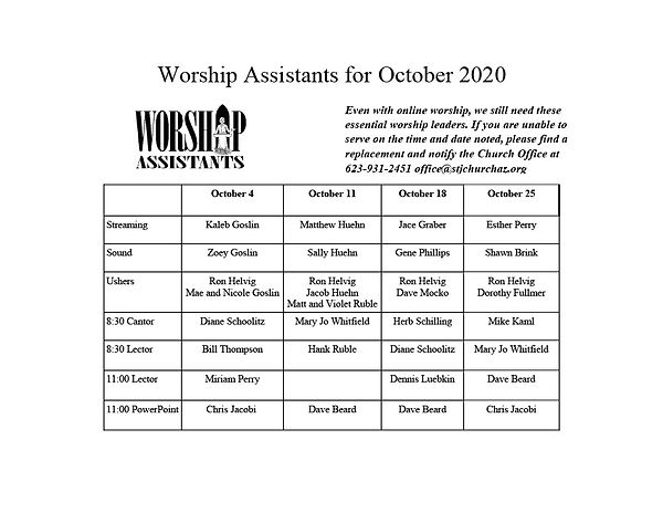 Worship Assistants for October 20201024_