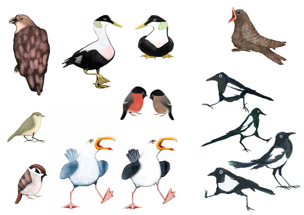 Karaktärer och scener till utställningen Vi fåglar, Bohusläns museum 2020 / Characters and scenes for the exhibit We birds, Bohusläns museum, Sweden