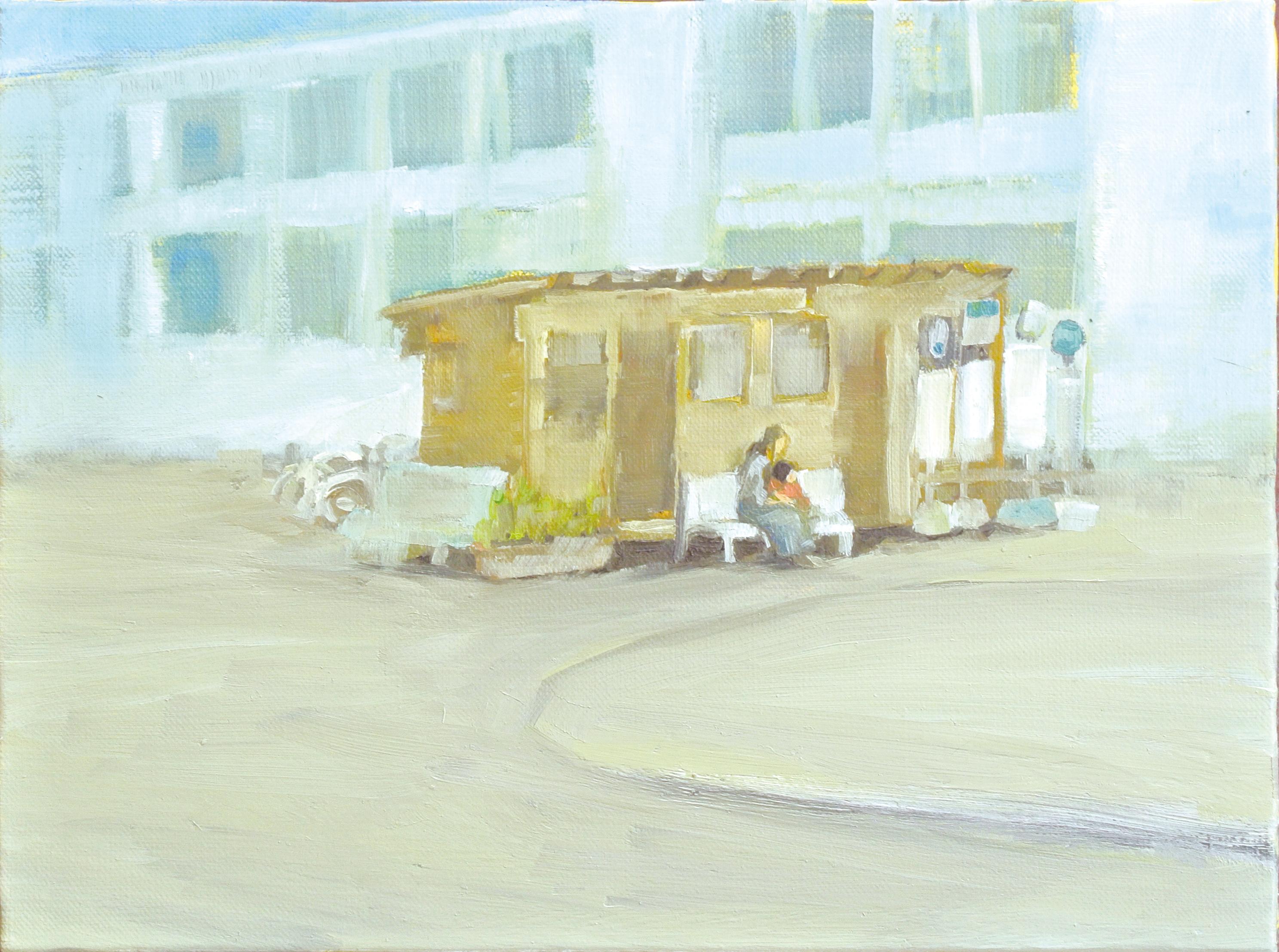 仮設のJR駅と親子  2014