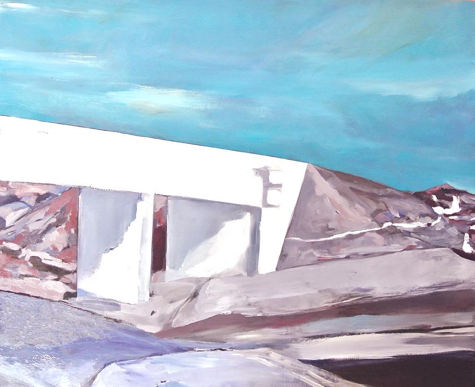 国道六号線と新しい橋。803x1000mm油彩キャンバス2016年Route 6 and new highway. 803x1000mm Oil on canvas 2016