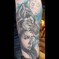 Healed on Andrew. Thank you! #wolftattoo