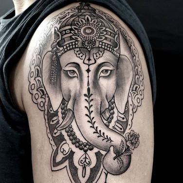 Ganesh by @elydoestattoos #ganeshatattoo