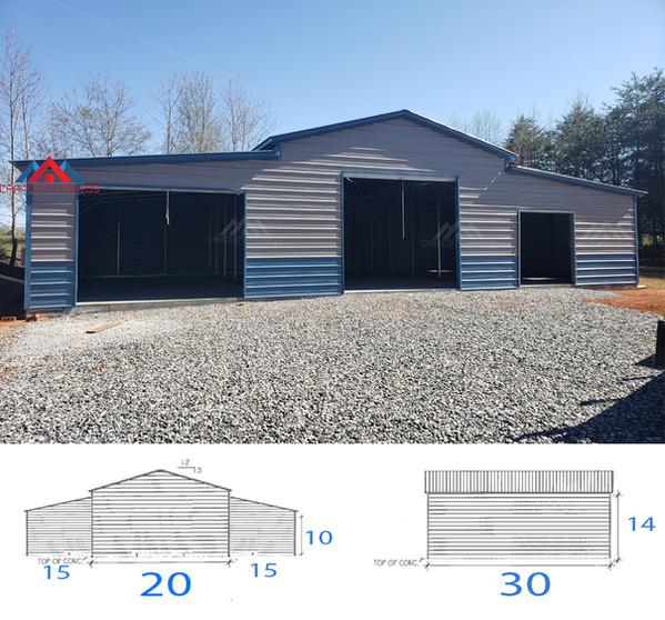 50x30x14 metal barn