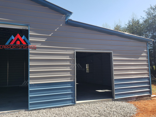 front right side of a 50x30 metal barn