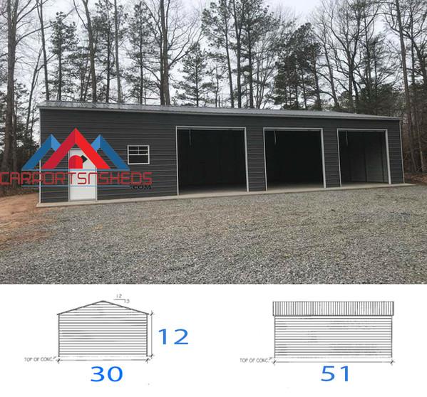 30x50x12 Prefabricated Metal Garage