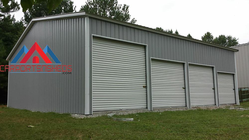 4 door garage with different size doors