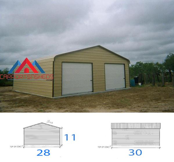 2 car garage, metal 2 car garage, Prefabricated metal garage, prefab garage, prefab steel garage