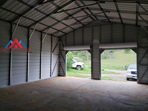 interior frame of a 24x40 metal garage