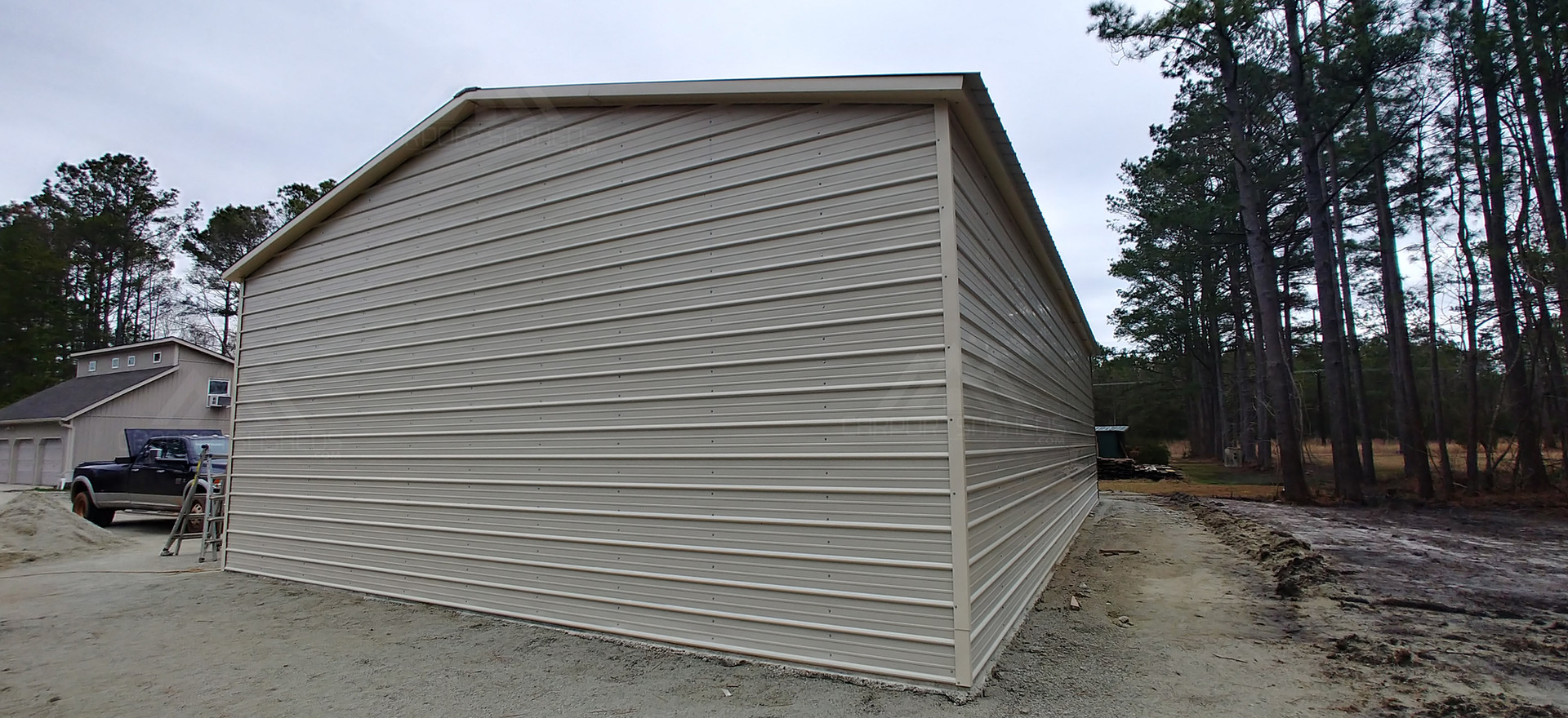 back and side view of 30x50x12 metal garage
